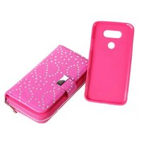 Wholesale Lg Optimus Wallet - For LG Optimus G5 2 in 1 Multi-functional Glitter Flower Zipper Wallet Leather Case Purse With Magnetic Detachable Cover 50pcs lot