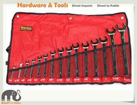 15pc SAE / AF Combination Ring Open Spanner Wrench Set 1 / 4in - 1-1 / 4in