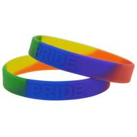 Wholesale coloured wristbands - 100pcs lot Gay Pride Embossed Logo Silicone Wristband Bracelet Rainbow Colour