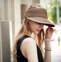 Wholesale Fold Visors - Summer Straw Visors For Women Folding Wide Brim Beach Hat 5 Colors Available Free Shipping