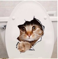 Vinil impermeável Cat Dog 3D Wall Sticker Hole View Banheiro Toilet Sala de estar Decoração para casa Decal Poster Background Wall Stickers 10pcs