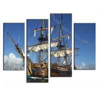Wholesale Natural Wall Paint - Natural Landscape Paintings Wall Art a Sailing Ship on the Sea 4 Panel Picture Print on Canvas for Modern Home Decor with Wooden Framed