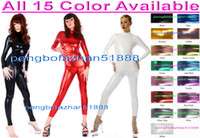 Wholesale purple zentai - New 15 Color Shiny Lycra Metallic Suit Catsuit Costumes Unisex Bodysuit Sexy Body Suit Costumes Back Zip Halloween Party Cosplay Suit P087
