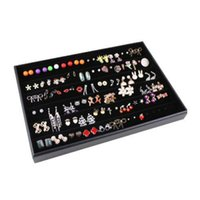 Wholesale Stud Display Holder - Jewelry Display Black Earring Stud Tray Case Box Holder Storage Organizer for Silver Fashion Jewelry Free Shipping