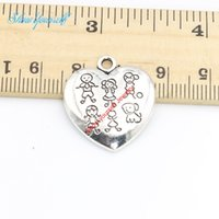 Wholesale Antique Carved Boy - 15pcs lot Antique Silver Plated Carve Girl Boys Charms Pendants for Necklace Jewelry Making DIY Handmade Craft 24x22mm