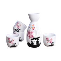 ingrosso fiore orientale-Set di sake giapponese dipinto a mano tempio Kiyomizu e Cherry Blossom in ceramica bottiglia di vino tazze elegante sake drinkware regali orientali