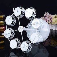 Wholesale dessert decoration - Metal Iron Cupcake Stands For Wedding Birthday Party Decoration Cake Racks Two Layers Dessert Holder Hollow Out Design 28jd BZ
