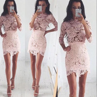 Vintage New Pink Full Lace Sheath Homecoming Dresss High Neck 3/4 Sleeves Mini Short Party Коктейльные платья 2018 Club Wear Gowns
