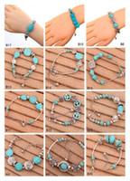 Wholesale Turquoise Bars Wholesale - Hollow round European Beads Charm Bracelet 12 pieces a lot mixed style,brand new women's DIY Tibetan silver turquoise bracelet GTTQB3
