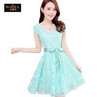 Wholesale Cozy Summer Dress - 2016 New Hot Summer Style Fashion Cozy Women Clothes Noble Short Sleeve Lace Dress Korean Fashion Sweet Solid Dresses Vestidos