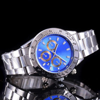 Wholesale Dark Blue Gold Bracelet - AAA High quality automatic calendar mens watches top brand luxury Fashion blue dial Sports quartz leather bracelet steel clock wrist watch