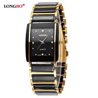 Wholesale unique couple - LONGBO Brand Men Women Brief Casual Unique Quartz Wrist Watches Rectangle Dial Luxury Half Gold Japan Movement Couple Watches Relogio