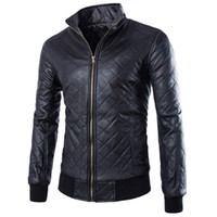 Wholesale Best Leather Jackets Sell - Fall-Fashion Punk Style Men Motorcycle Leather Clothing Jacket Best-selling Rhombus Plaid Solid Leather Coat ZPY32