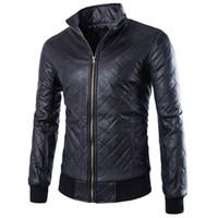 Wholesale Best Leather Jackets - Fall-Fashion Punk Style Men Motorcycle Leather Clothing Jacket Best-selling Rhombus Plaid Solid Leather Coat ZPY32