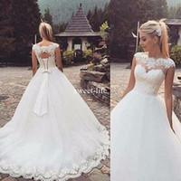 Wholesale Simple Elegant Cheap Ball Gowns - Cheap Elegant 2017 Ball Gown Wedding Dresses Vintage Lace Appliqued Jewel Neck Bridal Gowns Plus Size Country Garden Wedding Dress