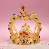 Wholesale King Crowns Tiaras - Luxury Vintage Gold Wedding Crown Alloy Bridal Tiara Baroque Queen King Crown Rhinestone Wedding Tiaras Princess Dress Accessories
