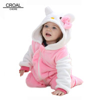 Wholesale Kitty Costume 4t - Kawaii Hello Kitty Panda Baby Girls Clothes Animal Baby Rompers Costume Winter Fleece Clothes For Boys Warm Snowsuit Jumpsuit