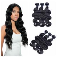 Wholesale Cambodian Body Wave 3pcs - Mongolian Virgin Hair Body Wave 8-30inch Natural Black Unprocessed Human Hair Weave Bundles 3pcs Lot G-EASY DHL FREE