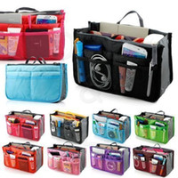 Wholesale Makeup Cases Price - Factory Price!! 12 Colors Dual Bag In Bag Women Insert Handbag Organizer Purse Makeup Case Storage Liner Bag Tidy Travel Insert Storage Bags