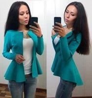 Wholesale Neck Hook - Fashion 2016 Fall Winter Ladies Slim Jacket Women Long Sleeve Cardigan Solid Outwear Coat Blazer Feminino S-XL WY7028