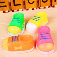 Wholesale Cat Shaped Shoes - 4 Colors 10*5cmCM Dog Cat Chew Sound Toy Soft Non-toxic Rubber Dog Shoe Shape Pet Bite Toy 100pcs lot
