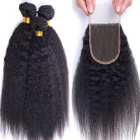 Mongolian Hair kinky straight $90-$200 Stock Mongolian Kinky Straight Hair Weft With Lace Top Closure 4Pcs Lot 100% Italian Coarse Yaki Human Hair Weave With Closure DHL Free