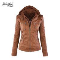 Wholesale Leather Jacket Women Xxl - Wholesale-Women's PU Leather Hoodies Hooded Lapel Zipper Pockets Good Selling Stylish Jackets 4 Colors Size XS-XXL