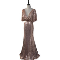 Wholesale Ladies Chart - Rose Gold Mermaid Sequined Bridesmaid Dresses deep v-Neck Backless summer Wedding Guest Dresses Lady Formal gowns