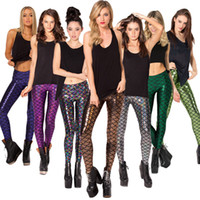 Wholesale Shiny Leggings For Sale - Hot Sale! Novelty Fish Scale Shiny Leggings for Women 2016 Mermaid Legging Slim Pencil Pants Plus Size Grils Leggins S-M Mix12color WK5015