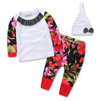 Wholesale Toddler Flower Leggings - 2016 Cotton Boys Girls Baby Childrens Clothing Sets Flowers tshirts Pants Hat Set Jumpers Toddler Pajamas Leggings Casual Home Clothes