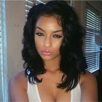 perruques de cheveux brésiliens non transformés achat en gros de-100% cheveux humains non transformés de dentelle perruques / dentelle perruques avant avec bébé cheveux 8A en vrac vague brésilienne perruque humaine pour les femmes noires