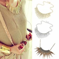 1Pc Womens metal Multilayer Cadeia Tassels Choker Falso Collar Longo Colar C00475