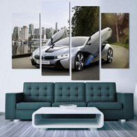 Wholesale Framed Car Pictures - Fashion Sport Car Canvas Prints Painting Decoration for bed room 4 Pcsr Wall Art Picture Living Room Canvas Painting h 054