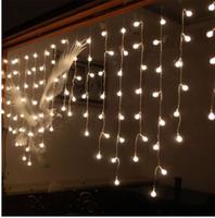 ingrosso luci a colori della finestra-Multi-color 3.5M 100SMD Cherry Ball Curtain String Lights Lampade Led Giardino Xmas Festa di nozze Decorazione di Windows AC110V-220V