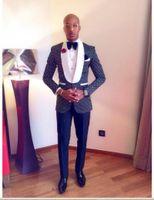 Wholesale Men S Bow Tie - Custom Made One Button Navy Blue Polka Dot Groom Tuxedos Groomsmen Shawl Lapel Best Man Wedding Prom Dinner Suits (Jacket+Pants+Bow Tie) K30