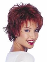 color de pelo castaño corto al por mayor-Xiu Zhi Mei 2017 Venta caliente Barato Trato estupendo afro rizado rizado pelo negro mujeres pelucas cortas con flequillo, moda peluca de color auburn para la venta