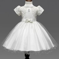 Wholesale Shorter Wedding Dresses For Boat - Christmas Bow Lace Dresses For Kids Girls Elegant Clothes Costume Fashion Floral Gauze Tiered Wedding Party Princess Dress For Children