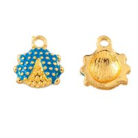 Wholesale ladybird ladybug for sale - Gold Pendants For Necklaces4 Gold Plated Ladybird Pendants Lake Blue Enamel Ladybug Pattern