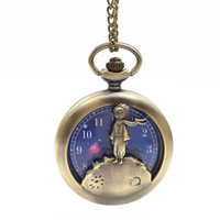 alte uhren großhandel-Die Kleine Prinz Taschenuhr Alte Bronze Fob Watch Halskette Modeschmuck für Frauen Kinder Geschenk Drop Shipping
