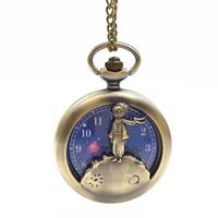 relojes antiguos al por mayor-The Little Prince Reloj de bolsillo Collar de reloj de bronce antiguo Fob Joyería de moda para mujeres Niños Regalo Envío de la gota