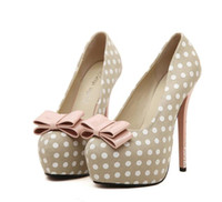 Wholesale Sexy Stylish High Heels - New Products 2016 Sexy High Heels Elegant Bow Tie Round Toe Platform Keroan Stylish Polka Dots Party Wedding Shoes Women Pumps