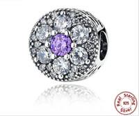 diamante púrpura suelto al por mayor-Nueva moda 925 Sterling Purple pétalos con perlas de diamantes Fit Pandora serpiente cadena pulseras brazaletes DIY joyería perlas sueltas