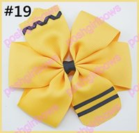 Wholesale Hair Crayon Free Shipping - free shipping 50pcs 4.5'' School Hair Bow Go back to School Stacked Boutique Hair Bow Crayon hair bow pencil hair bows