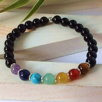 black onyx healing - SN0341 Design yoga bracelet chakra black onyx stone bracelet spiritual healing bracelet for womens turquoise jewelry