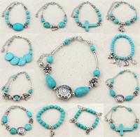 Wholesale New Sideway Crosses - New Fashion Turquoise Bracelets Sideway elephant Cross Stretch Bracelet Beaded Bracele Bangle Wristband Women Bracelets B0352