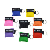Wholesale Key Chain Valve - CPR Rescue Mask Shield CPR Mask With Keys Chain With One-way Valve For First Aid For First Aid Training Random Colors #4074
