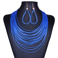 Wholesale Silver Jewelry For Sale China - Hot Sale PU Leather Jewelry Sets New Fashion Earrings and Necklaces Set for Women Girl Party Gift Wholesale Free Shipping 0413WH
