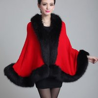 Wholesale Knit Mink Coats - Wholesale- 2016 Autumn Winter Long Cardigan Women's New High-grade Wool Knitted Coat Fashion Imitation Mink Shawl Imitation Fox Fur Outwear