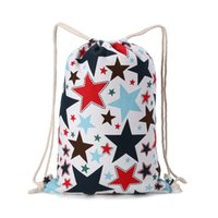 Wholesale Drawstring Canvas Backpack - uggage Bags Backpacks Canvas drawstring backpack double-shoulder cinch bag cotton calico draw string ethnic backpack outing sports travel...