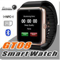 браслет bluetooth часы для iphone оптовых-GT08 Bluetooth Smart Watch с SIM-картой и NFC Health Watchs для Android Samsung и IOS Apple iphone смартфон браслет Smartwatch